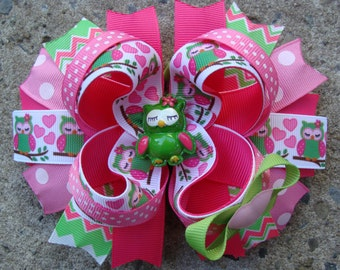 Pink and Green Owl Hair bow hair Clip large hair bow Boutique hair bow