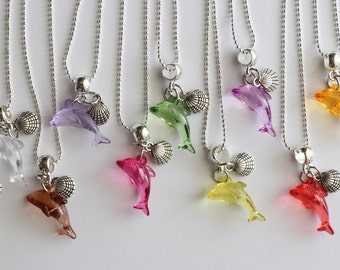 Dolphin Silver Necklace Sea Shell 10 Charm Party Favor  Mixed Colors Necklaces
