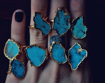 LUX DIVINE /// Turquoise and Gold /// Stackable Gemstone 24kt Gold Electroformed Ring