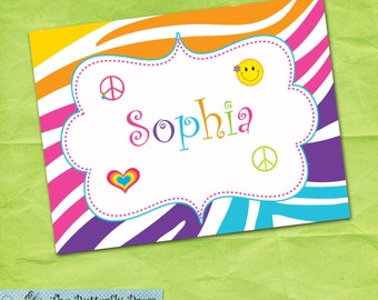 Rainbow Peace Sign Note Cards Personalized Folded Notecards Girls Personalized Stationery Note Cards