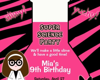 Science Birthday Party Invitation - Science party museum science party Science Invitation