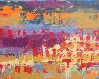 "Abstract ORIGINAL  painting-10""x36"" orange crimson grey magenta"