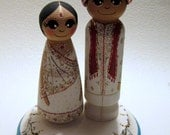 Wedding Cake Topper / Custom Painted Wood Peg dolls with plaque / Traditional Ethnic Wedding