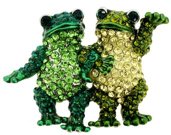 Green Couple Frog Pin Brooch 1010151