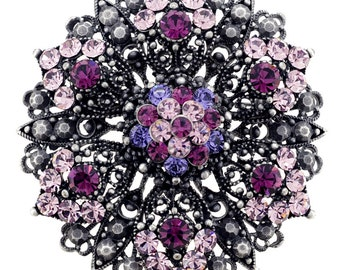 Purple Flower Wedding Amethyst Crystal Pin Brooch And Pendant(Chain Not Included) 1010094