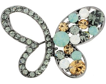 Multicolor Butterfly Crystal Pin Brooch and Pendant 1010301
