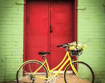 Bike Photography, Bike Print , Bike Wall Art , Bike Decor , Red Door , Green, Yellow , Home Decor , Gifts For Her , Summer Basket , Romance