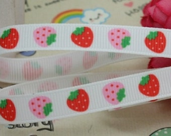 Strawberry Grosgrain Ribbon - 3/8 inch - 2 yards