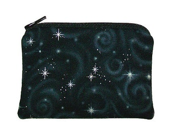 Silver Starbursts on Black Coin Purse Small Zipper Pouch