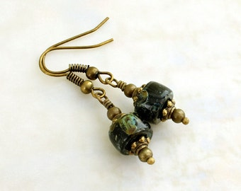 Earthy black and green earrings with antique brass findings - Picasso finish Czech glass beads -  Victorian Style Jewelry