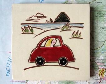 "Red VW bug ceramic tile, coaster or wall hanging 4x4"""