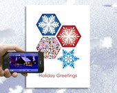 Let It Snow, Holiday Card, Christmas Card - personalized video, audio - Techy, QR, Snowflake, 2016