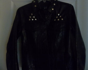 INKY BLACK LEATHER Jacket size small 2 womens  studded by hand dark black rich leather Punk Modern Remade