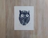 OWL Decor Linocut Art PRINT Deep Blue Owl 8x10 art print