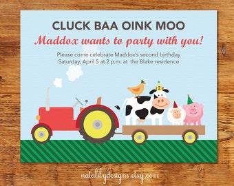 Farm Animal and Tractor Birthday Invitation