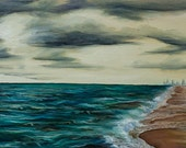 "I beautiful beach, a storm is rolling in ""Until the Sky Falls"" (artprint) 12x24"