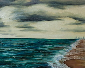 "I beautiful beach, a storm is rolling in ""Until the Sky Falls"" (artprint) 12x24"