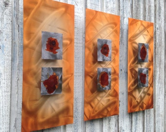 Orange silver red Metal Wall Art Sculpture Abstract Modern Contemporary Home Decor by Holly Lentz