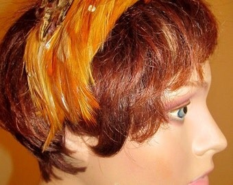 50's Pheasant Feathered Hat With Rhinestones