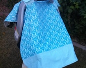 Baby Car Seat Canopy - Baby Car Seat Cover - Blue Car Seat Canopy - White Car Seat Cover - Damask Car Seat Canopy - Baby Shower Gift