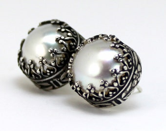 Pearl Posts - Sterling Silver & Pearl Posts - Pearl Stud Earrings - Floral Pearl Earrings - Wedding Pearls