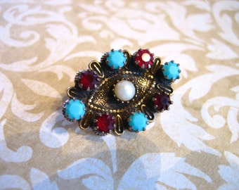 Vintage Small Pin w Turquoise Garnet and Pearl