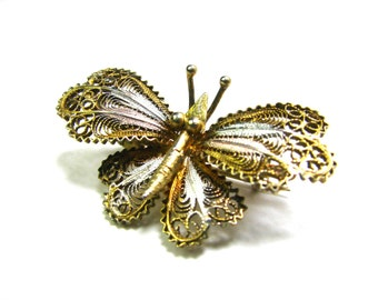Tri Colored Gold Rose Silver Filigree Butterfly Brooch Insect Pin Vintage