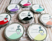 Bridesmaids Gift - Personalized Compact Mirror - Bridesmaids Gown Design | Choose your Color Bridesmaid Gifts