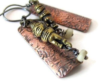 Very unique primitive mixed metal earrings, fertility jewelry, African glass, brass, copper and sterling silver, unusual earrings