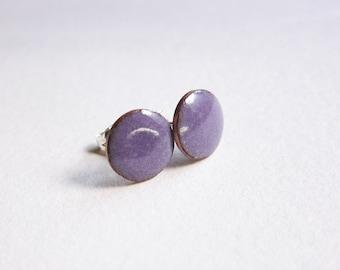 Purple enamel stud earrings Tiny post earrings Minimalist glass enamel jewelry Handcrafted button earrings Ready to ship