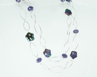 Bronzey Purple Flower Pearls, Crystal and Sterling Filled Link Necklace
