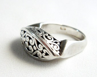 Vintage Victorian Sterling Silver Scroll Ring - Band - SIGNED - Size 6.75