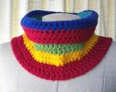 CHUNKY Textured Hand Knit COWL in RAINBOW vegan Acrylic