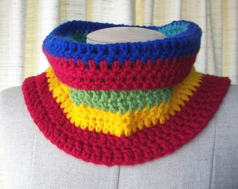 CHUNKY Textured Hand Knit COWL in RAINBOW vegan Acrylic