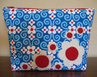 Zipper Bag, Blue and Red with Wool Flowers, Hand Applique