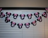 Pink and White Polka Dots Minnie Mouse Inspired Banner