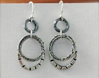 Sterling Silver Earrings, Handmade, Loop, Artisan, Metalwork, Circles, Original