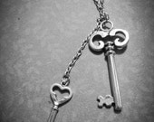 "Skeleton Key Necklace Antiqued Silver Long Necklace 32"" Steampunk Jewelry wholesale"
