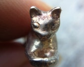 Cat Charm Sterling Silver hand carved OOaK handmade sculpted