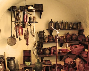 Fine Art Color Food Photography of Old Rustic Kitchen Pantry in Germany