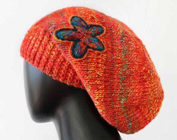 Papaya Slouch Hat  - Warm & Cosy Knitted Hat - Colourful Slouchy Hat for Winter