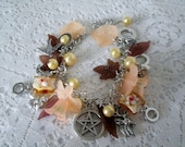 Harvest Moon Pentacle Charm Bracelet, wiccan jewelry pagan jewerly wicca jewelry witch witchcraft metaphysical pentagram wiccan bracelet