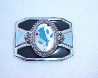 Vintage Beautiful Mother of Pearl Blue Bird Belt Buckle Silver Tone