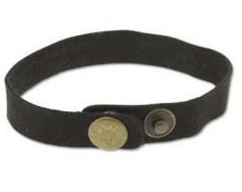 Leather Cuff BLACK- 1/2   in. x 9 in.-w/adjustable metal snaps--Perfect for Leather Work and Metal Stamping Qty of 3-