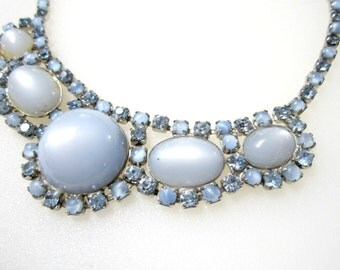Vintage Blue Plastic Cabachon Moonglow and Rhinestones Choker Necklace