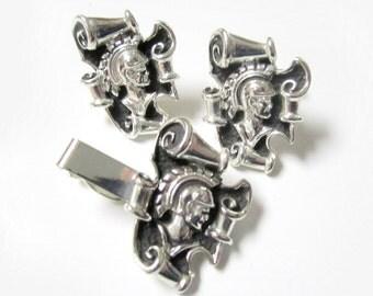 Knight Cufflinks Set Tie Clip Vintage Mens Jewelry