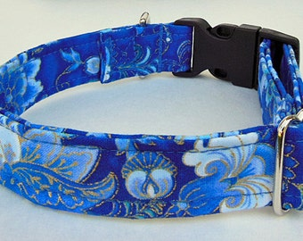 Blue and Gold Metalic Flower Adjustable Dog Collar - Made to Order-