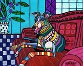 Greyhound art dog Poster Print of painting by Heather Galler Painting (HG500)