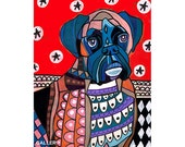 Boxer Dog Art Poster Print of Heather Galler Dog Painting - (HG217)