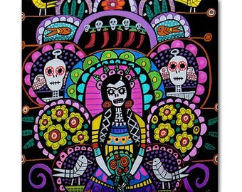 65% Off- Day of the Dead Art Ceramic Tile Frida Kahlo Mexican Folk Art tree of life